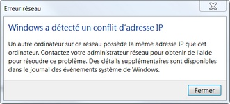 Message Windows lors d'un conflit d'adresses IP