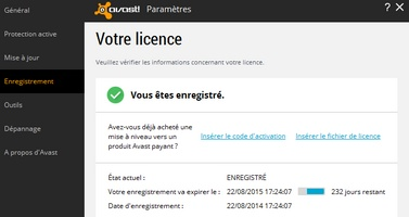 Enregistrement Avast!