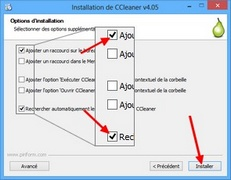 Options d'installation de Ccleaner