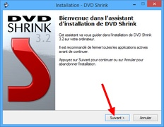 DVD Shrink : Accueil de l'assistant d'installation