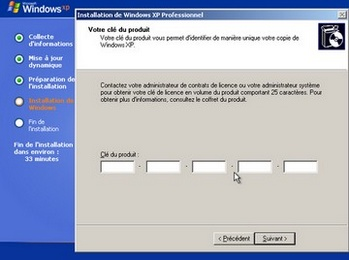 Entrez la clé de licence de Windows XP