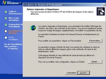 Options régionales et linguistiques de Windows XP