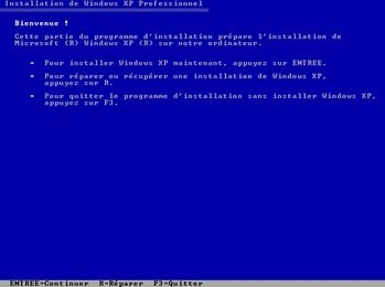 Choisir : Installer ou réparer Windows XP