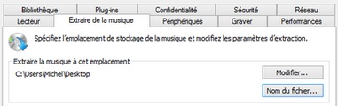 Windows Media Player : Réglage des options d'extraction mp3